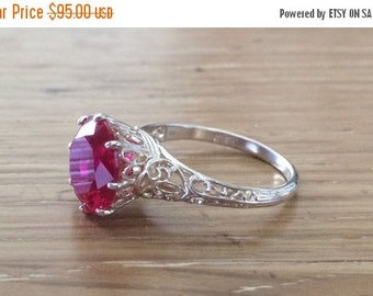 SALE Silver Pink Gemstone Ring - Large Gemstone Ring - Pink Gemstone - Antique Style Ring - Large Silver Ring - Round Gemstone Ring -Pink Je