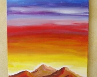Mountain sunset painting, Original oil painting mountain sunset