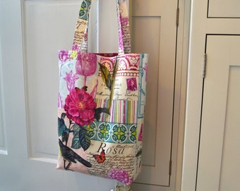 """Floral Laminated Tote Shopping Bag Knitting Bag Diaper Bag in Michael Miller French Journal """"Cottage Chic"""""""