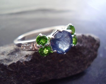 Genuine Sapphire, Chrome Diopside & White Topaz Ring - 925 Sterling Silver Ring - NonTraditional Engagement Ring - Alternative Wedding Ring