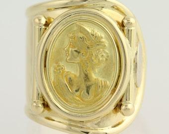 Cameo-Style Ring - 18k Yellow Gold Silhouette Women's High Karat L8974