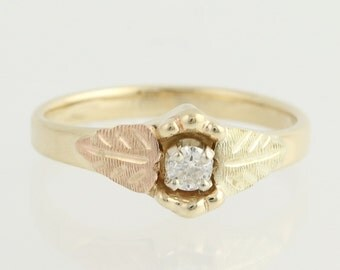 Gold Diamond Solitaire Ring - 10k Yellow, Rose, & Green Gold .10ct L9679
