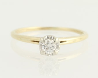 Diamond Solitaire Engagement Ring - 14k Yellow & White Gold .17ct Unique Engagement Ring N551