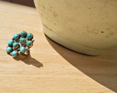 Turquoise Cluster Ring, Size 5, Silver, Native American, Southwest Jewelry, Ring, Santa Fe, New Mexico, Handmade