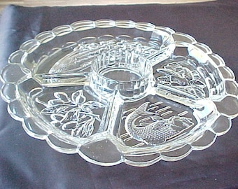 Vintage 5 Part Crystal Relish, Large Veggie Serving Tray, Embossed Platter For Serving Appetizers, Clear Intaglio Relish by Indiana Glass