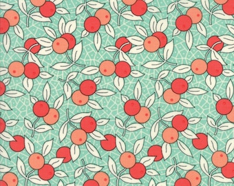Chestnut Street by Fig Tree Quilts, 20273 13 Blueberry, Moda Fabrics, Aqua Background with Coral/Red Berries