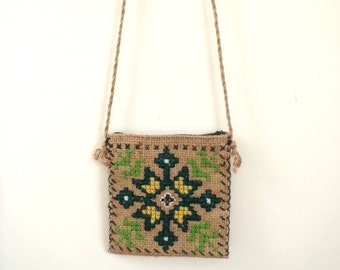 Summer Clearout Sale Vintage ethnic embroidered woven small purse / burlap crossbody bag