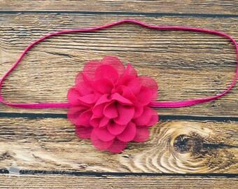 Pink headband, baby elastic headband, baby headband, infant headband, newborn headband, elastic headband, baby girl headband, hair clip