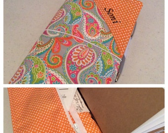 Travelers Notebook with Monogram and Zipper Pocket - Fabric Fauxdori - Custom Design Your Own in any of my In Shop Fabrics - Standard Size