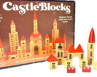 Chadwick Wooden Castle Blocks Set in Original Box w/Wooden Tray