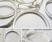 Silver 30mm OPEN BACK Pipe Ring Pendant Bezel Round Circle for Ice Resin Polymer Clay or Wire Wrapping Necklace Jewelry Making Supplies