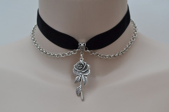 ROSE Charm With CHAIN Drapes BLACK Velvet Ribbon Choker  - si... or choose another colour velvet from a wide choice