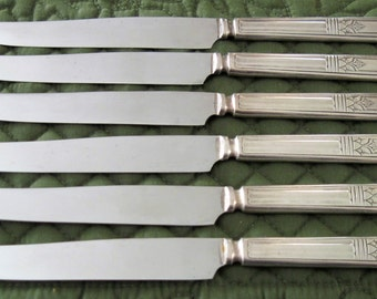 6 Antique Vintage Court Silverplate Sovereign Pattern Dinner Knife Knives Circa 1930's