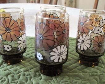 4 Vintage Libbey Rock Sharpe Mod Drinking Tumblers Camellia-Tawny Pattern Circa 1970's