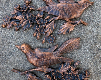 1960s SET of 2 vintage bird 3D WALL Hanging pair display Coppercraft guild syroco plastic 1967 bronze copper tone hanging retro nesting jays