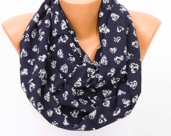 SALE Infinity  scarf ,hearts scarf ,infinity scarf ,loop scarf ,navy
