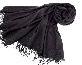 Luxurios black pashmina shawl scarf with french lace border  ,bridesmaid shawl, bridesmaid gift -WITH COLOR OPTION
