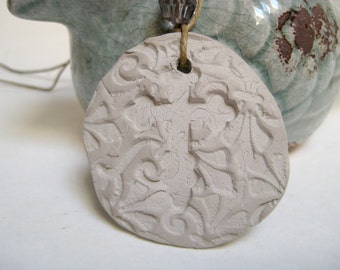 Clay Essential Oil Pendant Aromatherapy Cross Necklace