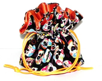 Drawstring Jewelry Bag Pouch - Jewelry organizer - Sugar skulls in orange, pink, purple and blue travel bag
