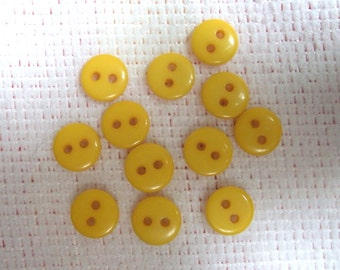 Sunshine Yellow Tiny 2 Hole Plastic Doll or Baby Buttons ... 3/8  Inch ... Set of 12 ... Item No. L247