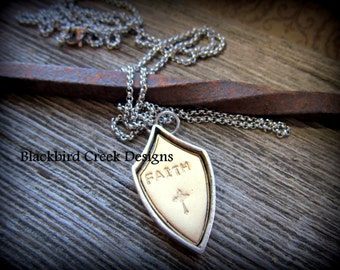 Shield of faith etsy shield pendant faith cross silver gold stainless steel necklace simple aloadofball Choice Image