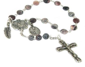 Saint Barbara Chaplet Rosary, Catholic Patron Saint Prayer Beads