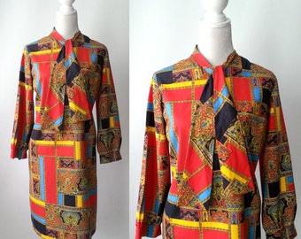 Vintage Dress, 1970s Dress, 70s Vintage Dress, 1970s Dress, 1970s Cotton Dress, Retro 70s Dress, Vintage Office Dress, 1970s Office Dress