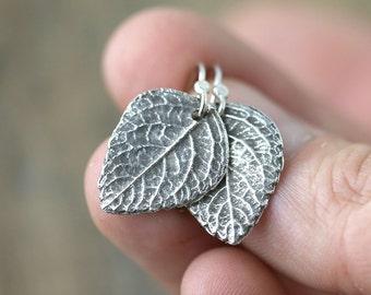 Silver Leaf Earrings, Summer Outdoors Sterling Silver Earrings Handmade, Wife Gift, Botanical Jewelry