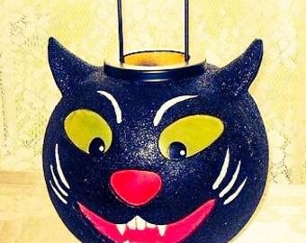 Vintage Halloween Black Cat Lantern