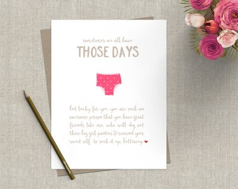 Funny Friendship Greeting Card Encouragement Suck it Up Big Girl Panties Greeting Card Friend Pink Funny Card Inspirational Friend Card