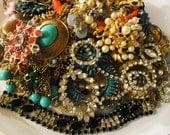 Vintage Lot Rhinestone Craft Jewelry Broken for Repair Repurpose 2+ Lbs Brooch Earrings Beads Kafin Bracelet