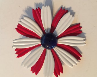 Enamel Flower Brooch Retro Vintage Lot 1036