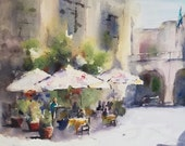 "Reserved for Carol. Street Scene, Europe, cafe, cityscape, umbrella, architecure. Original watercolor (20"" x 10"")"