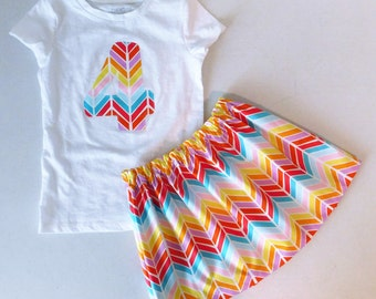 2 piece Rainbow girl, toddler, baby, tween skirt aztec chevron skirt, personalized shirt with birthday number or inital applique - 12m - 16