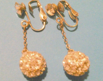 Vintage Silver Tone Pave Rhinestone Drop Clip Earrings