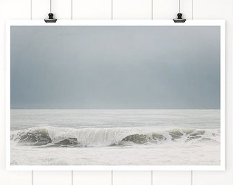 Ocean Photography, Ocean art print, wall art, beach decor, grey blue, beach, wave, sand, breaking waves water, sea, beach decor, florida