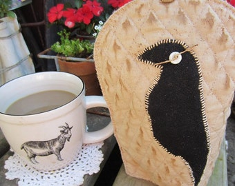 CROW COFFEE cup COVER Made-To-Order Coffee Cozy Cozie Designed and handmade by thebagglady76