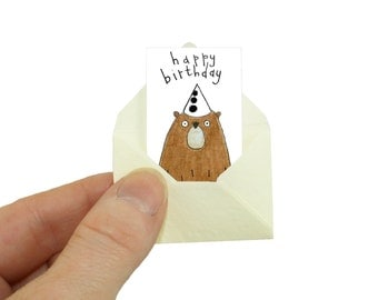 Bear Birthday Card, Dad Birthday Card, Miniature Card and Tiny Envelope, Grizzly Bear Card, Daddy Bear Birthday Card for Dad