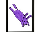 Leaping Rabbit - Art print of the original colourful drawing