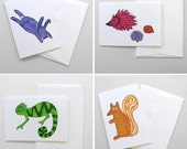 Set of four greetings cards featuring all 'Kethi's Creatures' illustrations