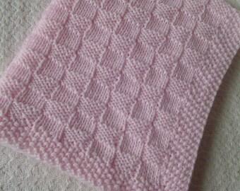 Baby Blanket*, Girl Baby Blanket, Pink Blanket, Hand Knit Baby Afghan, Handmade Blanket, Basketweave Baby Blanket, Christening Baby Blanket,