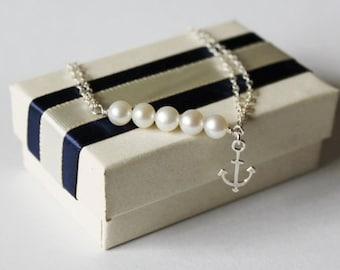 SET of 8 REAL pearl bracelet, Bridesmaid bracelet, Beach Wedding Bracelet, Anchor Bracelet, Beach bridal, nautical, navy,Sterling Silver