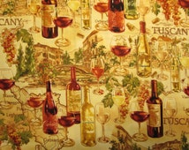 Wine Bottles Glasses Tuscany Natural Cotton Fabric Fat Quarter Or Custom Listing