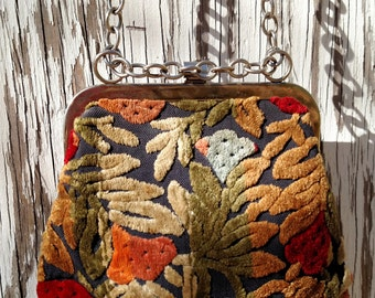 Vintage 1960s Floral Velvet Brocade Pouch Sling Bag with Chain in Orange, Red, Gold and Blue