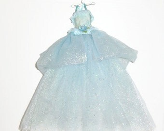 Handmade Mixed Media Fabric & Paper Art Fairytale Gown