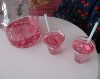 Doll Play Food - 2 Strawberry Lemonade Drinks w/Carafe - sized for American Girl or Similar