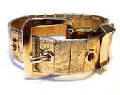 Vintage Gold Mesh Floral Buckle Bracelet