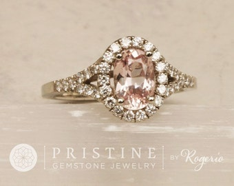 Pink Champagne Sapphire Split Shank Diamond Halo Engagement Ring Gemstone Engagement Ring Wedding Ring Anniversary Ring