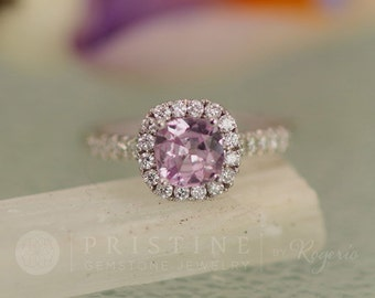Orchid Pink Sapphire Engagement Ring Square Cushion White Gold Diamond Halo September Birthstone Weddings Anniversary Ring