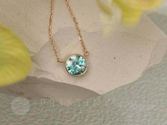 Natural Blue Zircon Yellow Gold Layering Necklace Keepsake Gift for Her December Birthstone Gemstone Jewelry